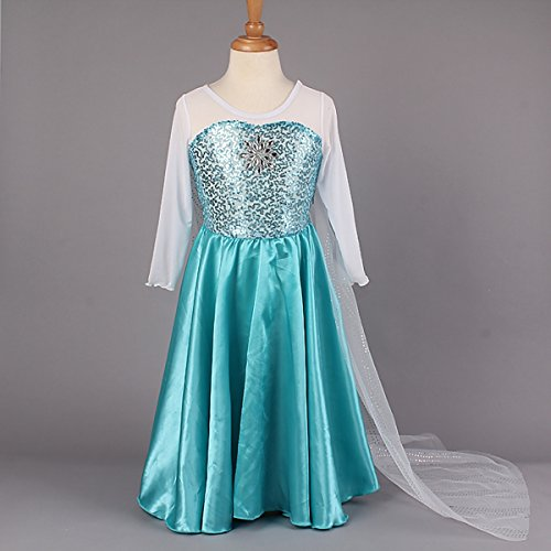 Girls Snow Queen Elsa Frozen Halloween Costume Snow Princess Dress 2-10 Years