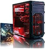 VIBOX Warrior 4W - Fast 4.1GHz 6-Core, High Spec, Desktop Gaming PC, Computer with Windows 10, WarThunder Game Bundle & Neon Red Internal Lighting Kit PLUS a Lifetime Warranty Included* (3.5GHz (4.1GHz Turbo) AMD FX 6300 Six Core Processor, 2GB AMD Radeon R9 270X HDMI Graphics Card, High Grade 500W PSU, 1TB HDD Hard Drive, 8GB 1600MHz RAM, DVD-RW, Corsair Gamer Case)