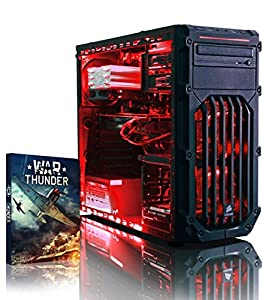 VIBOX Warrior 4W - Fast 4.0GHz 6-Core, High Spec, Desktop Gaming PC, Computer with Windows 8.1, WarThunder Game Bundle & Neon Red Internal Lighting Kit PLUS a Lifetime Warranty Included* (AMD FX 6300 Six Core Processor, 2GB AMD Radeon R9 270 HDMI Graphics Card, High Grade 500W PSU, 1TB HDD Hard Drive, 8GB 1600MHz RAM, DVD-RW, Corsair Gamer Case)