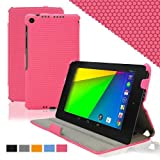 KHOMO Pink GRID Material Slim Cover Case With Hand Strap For Google Nexus 2nd Gen 7.0 Inch (2013 Generation)
