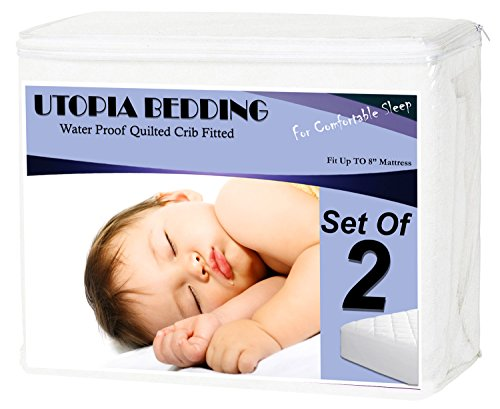 Waterproof-Crib-Mattress-Protector-2-Pack-Hypoallergenic-Quilted-Crib-Fitted-Sheets-with-Deep-8-Inch-skirts-Breathable-Mattress-Pad-Outstanding-Cradle-Mattress-Protector-By-Utopia-Bedding