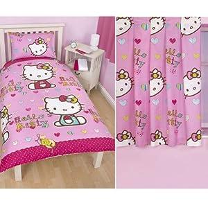 """Hello Kitty 'Folk' Single Rotary Duvet Cover + 'Folk' 66"""" x 54"""" Curtains"""