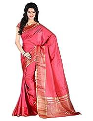 Roopkala Tussar Plain Pink Silk Saree