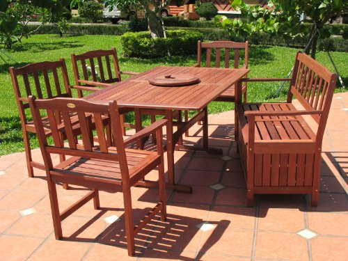 discount 7pc outdoor wood patio dining furniture set patiosetz