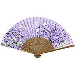 Perforated Wood Folding Fan - Butterfly Blossom Print Fabric - Lavender Purple
