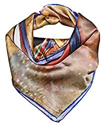 Olina Women's High-Grade Elegant 100% Luxury Square Silk Scarf (Van Gogh - Fishing Boats on the Beach)