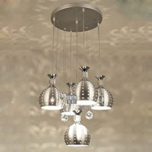 5 Lights Crystal Hanging Dining Room Pendant Light Modern Hollow