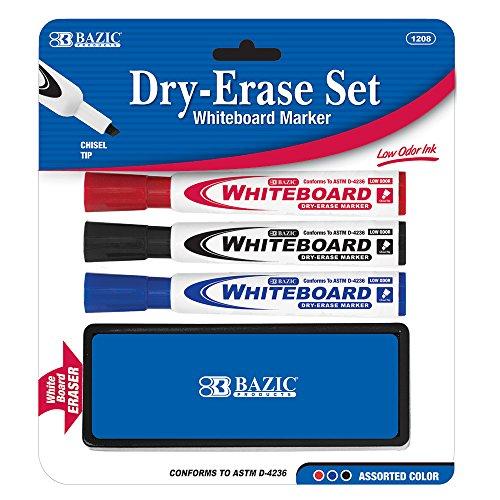 BAZIC 3 Asst. Color Chisel Tip Dry Erase Marker w/ Eraser - 1