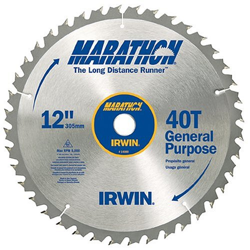 Irwin Industrial Tools 14080 12-Inch 40-Teeth 1-Inch Arbor Miter and Table Saw Blade