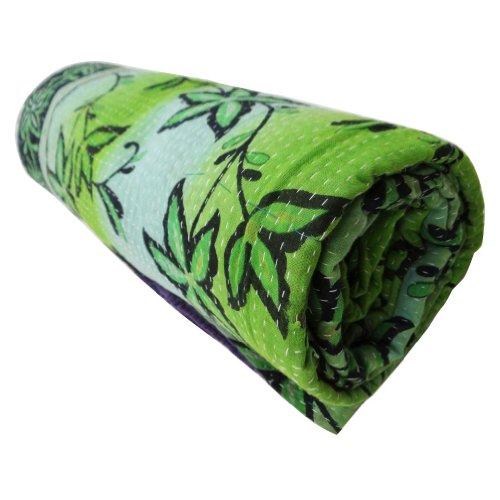 Home Décor Verde Vintage Salir algodón hecho a mano Tamaño Twin Reversible Colcha Kantha Stitch Gudri India