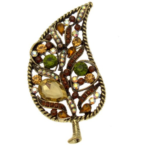 Acosta Brooches - Antique Gold Tone - Crystal Autumn Leaf Brooch - Vintage Style Gift