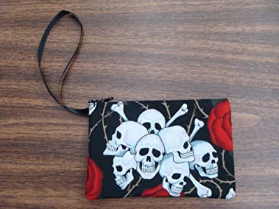 "US Handmade Fashion Electronic Device Clutch Purse, Pouch Wristband Makeup bag, Cosmetic Bag ""CUTE SKULLS RED ROSES "" Pattern ,, SCB 1007-1"