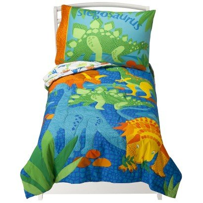 Crown Crafts Inc. Dinosaurs - 4 Piece Toddler Set - Vibrant Color - Reversible Comforter - Pillowcase - Bed Accessories. front-778687