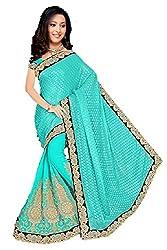 Shiv Fashion Women's Georgette Saree (kaveri_Green_Freesize)