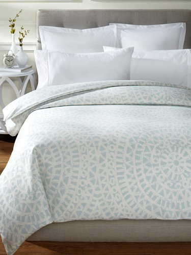 Buy Discount Echo Mykonos 300TC Duvet Cover Sky/White, Full/Queen