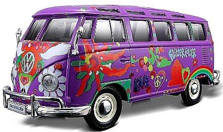 vw samba bus lila hippie line maisto preisvergleich. Black Bedroom Furniture Sets. Home Design Ideas