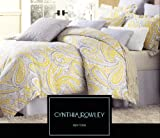 Cynthia Rowley 3pc Duvet Cover Set Paisley Ikat Silver Grey Mustard Yellow Luxury Cotton Sateen (Queen)