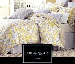 Cynthia Rowley 3pc Duvet Cover Set Paisley Ikat Silver