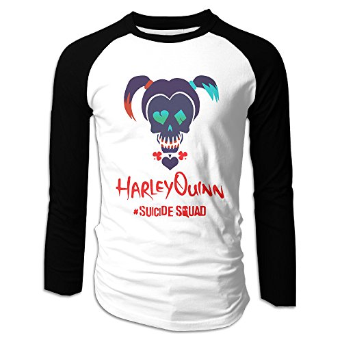 Harley Quinn Men's Baseball Crew Neck Cotton Long Or 3/4 Sleeve Essential Raglan Tee Shirts (Captain America Essential 3 compare prices)
