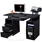 (BTM) LARGE Computer Desk with 2 Drawers and 4 Shelves for Home Office Study Workstation Furniture PC Desktop Office Chair Table FILING CABINET BLACK LARGE NEW-12 Months Warranty
