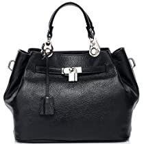 Vicenzo Black Italian Leather Tote Handbag