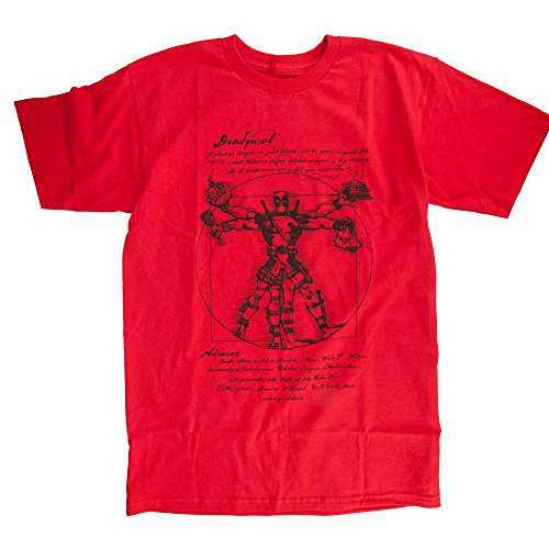 Deadpool Vitruvian T-shirt (XXL, Red)
