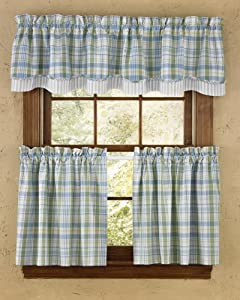curtain light green blue white yellow plaid country cottage beach home