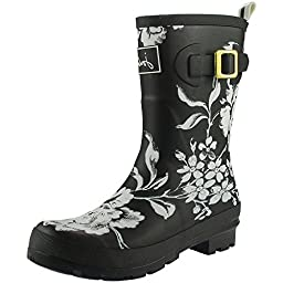 Joules Molly Welly Boot - Women\'s Black Floral, US 9.0/UK 7.0