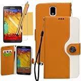 OMIU(TM) Dichromatic Mouse Print Flip Magnet Stand Leather Carry Case Cover Fit For Samsung Galaxy Note 3 N9000(Orange),With Credit Cards Slots,Screen Protector,Stylus and Cleaning Cloth, All Products By OMIU(TM)
