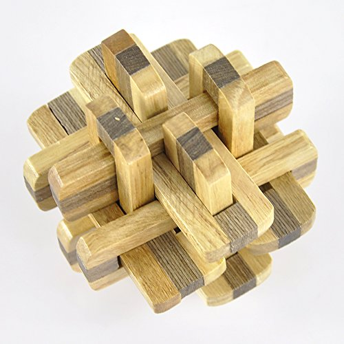 Lycheers Brain Teaser Wooden Puzzle Toy Double Color Kongming Lock