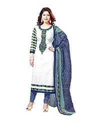 Moradiya International Export Women Cotton Unstiched Printed Salwar Suit(Zarmar_blue + White__Cotton_Free Size) - B01A0PTB3G