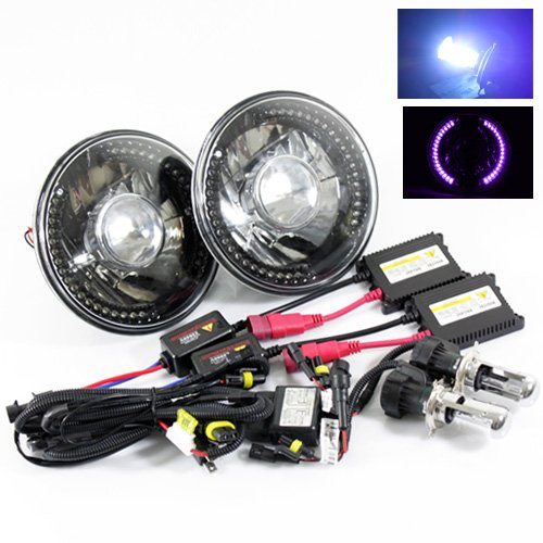 "10000K Deep Blue Bi-Xenon Slim Hid/7"" Round 6014/6015/6024 Black Crystal Projector Headlights With Purple Led Ring"