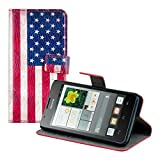 Kwmobile Chic leather case for the Huawei Ascend G520 / G525 with convenient stand function - Flag design (USA) (Red Blue etc.)!