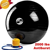 2000 Lbs. Anti Burst Stability Ball, Your Yoga and Fitness Companion - Durable, Long Lasting Design - Firm Support - Non-slip Surface for Safety. 100% Money Back Guarantee!