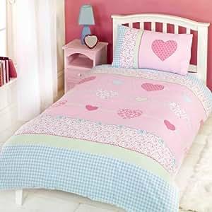 Childrens Girls Millie Hearts Duvet Cover Quilt Bedding Set, Single (Pink, Blue)
