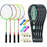 Guru PassionBR08 Series-COMBO-2 Badminton Racquets Set Pack Of Four With Four Cover Six Shuttlecock & Four Hand...