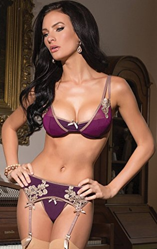 Lady S Sexy Lingerie 3 Pieces Set Bra + G String And Suspender Belt Size M