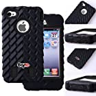 Bayke Brand / Apple iPhone 4 4S Two Layer Armor Skidproof Case 3in1 Hybrid High Impact Rubber Soles Armored Vehicle Tread Tires Combo Soft Silicone Case with Inner Hard Shell (Black)