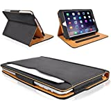 MOFRED® Black & Tan Apple iPad Air 2 (Launched Oct. 2014) Leather Case-MOFRED®- Executive Multi Function Leather Standby Case for Apple New iPad Air 2 with Built-in magnet for Sleep & Awake Feature