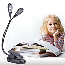 Rechargeable Light.IREALIST Reading Light Computer Keyboard Light with USB Cable & Charger Rechargeable LED Desk Light Book Light(2 Arms,4 Leds)