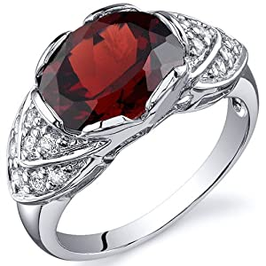 Classy Brilliance 3.25 carats Garnet Cocktail Ring in Sterling Silver Rhodium Finish Size 8