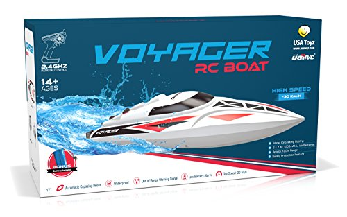 UDI007 Voyager Remote Control Boat for Pools, Lakes and Outdoor Adventure - 2.4GHz High Speed Electric RC Boat - includes BONUS BATTERYDoubles Racing Time - [Large Size] (Radio Control Boat compare prices)