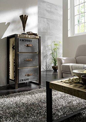 Massivholz Möbel bedruckt Industrial-Stil Mangoholz Kommode vollmassiv Eisen Factory #103