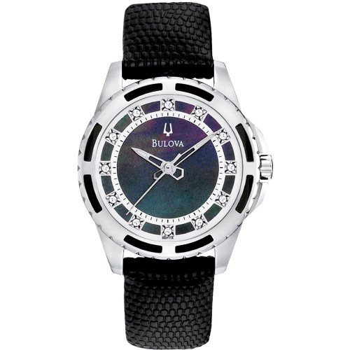 Bulova 98P118 Ladies Diamond Black Watch