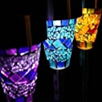 Solar Mosaic Border Garden Post Light...