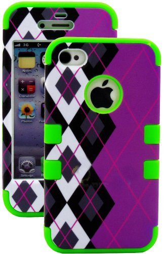 Mylife Green - Argyle Plaid Series (3 Piece Protective) Hard And Soft Case For The Iphone 4/4S (4G) 4Th Generation Touch Phone (Fitted Front And Back Solid Cover Case + Internal Silicone Gel Rubberized Tough Armor Skin)