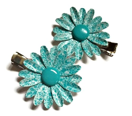 aqua-blue-speckled-metal-flower-hairclips-enamel-daisy-set-of-2