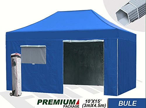 New Eurmax Premium 10X15 Pop Up Canopy Outdoor Party Tent Commercial Gazebo With 4 Zipper End Enclosure Walls And Wheeled Carry Bag (Blue) front-842455