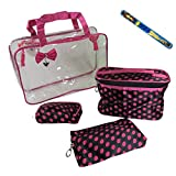 4-piece Cosmetic Travel Make-up Bag Set AND 9 Fashion Nail File: Large See-through Purse With Handles (12 X9 X4...