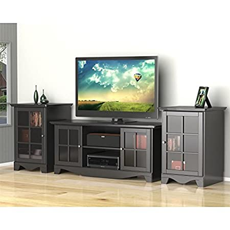 Contemporary Black TV Stand Set with Two Audio Stands FMP25279